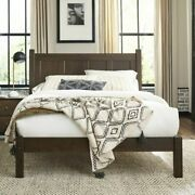 Modern Farmhouse Platform Bed Frame Full Size With Headboard Bedroom Solid Wood