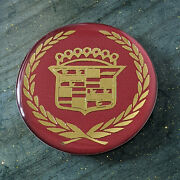 Burgundy And Gold Cadillac Wire Wheel Chips Emblems Decals Set Of 4 Size 2.75in