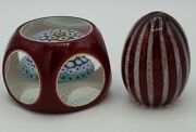 Murano Faceted Double Millefiori And Latticino Egg Paperweights Lot Of 2