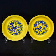 Yongzheng Marked Yellow Blue White Porcelain Flower Butterfly Plate Tray Pair