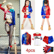 Girl Kid Harley Quinn Suicide Squad Halloween Costume Cosplay Outfit Fancy Dress