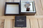 Philip Watch Admirale 7750 Valjoux Brown Waffle Dial Chrono Automatic Watch.rare