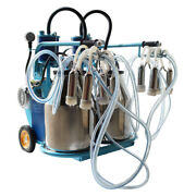 110v Electric Piston Milking Machine Farm Cows Goat Double Bucket Stainless Us