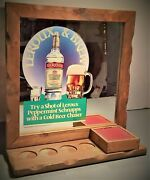 Vintage Leroux And Brew Framed Mirror And Wooden Pedestal Display Sign Rare