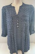 New Cocomo Navy And White Lattice Pintucked Front Breast Pockets Blouse Plus Sizes