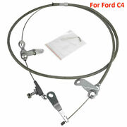 For Ford C4 Braided Polished Stainless Kick Down Cable Transmission Mustang Kits