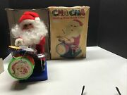 Vintage Battery Operated Musical Santa Claus Playing The Drum Christmas Drummer