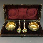 Rare Antique Russian 84 Silver Enamel Silver Salts And Spoons