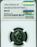 1993 Canada 5 Cents Ngc Ms69 Mac Finest Grade And Spotless Rare ..
