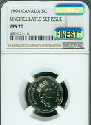 1994 Canada 5 Cents Ngc Ms70 Macs Finest Grade And Spotless Very Rare ..