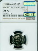 1994 Canada 10 Cents Ngc Ms-70 Mac Solo Finest Grade And Spotless Very Rare ..
