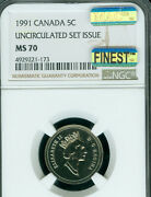 1991 Canada 5 Cents Ngc Ms70 Mac Finest Grade And Spotless Rare ..