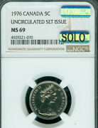 1976 Canada 5 Cents Ngc Ms69 Pq Mac Solo Finest Grade And Spotless Rare..