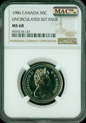 1986 Canada 50 Cents Ngc Mac Ms68 Pq 2nd Finest Grade Spotless ..
