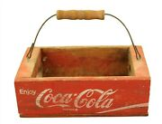 True Vintage Coca-cola Distressed Small Wood Glass Bottle Carrier W Handle