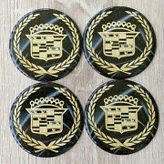 Black/gold Cadillac Dayton Wire Wheel Chips Emblems Decals Set Of 4 Size 2.25in