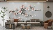 3d Pink Magnolia Flower Branch Self-adhesive Removable Wallpaper Murals Wall 8