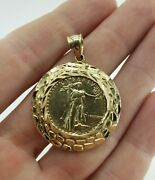 10k Gold Coin Bullion Pendant Liberty Eagle For Chain Necklace Round Nugget
