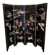Asian Chinese Black Lacquer Carved Stone Chinoiserie 4 Panel Screen Room Divider