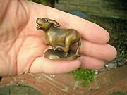 Hand Carved Wood Netsuke Dog Running Fast Canine Collectable Boxwood Figure