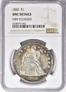 1842 Seated Liberty Dollar Ngc Unc Rarepretty Coin Super Fast Shipping