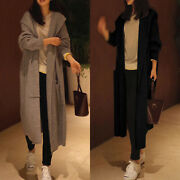 Women Ladies Knitted Hoodie Open Front Cardigan Casual Long Trench Coat Jacket