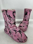 Bearpaw Womens Emma Short Pink Camo Suede Mid Calf Boots Size Us 7