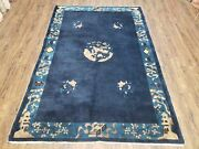 Antique Chinese Peking Area Rug Hand-knotted Dark Blue Wool 5x7 Pagoda Carpet