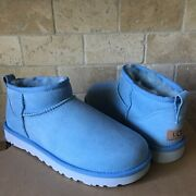 Ugg Classic Ultra Mini Horizon Blue Water-resistant Suede Boots Size Us 7 Women