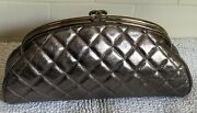 Authentic Limited Edition Timeless Metallic Aged Leather Clutch