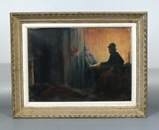 Antique French Oil Painting Soldiers French Army Front Wwi Sappers Signed 1921