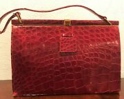 Vintage 1950s Mark Cross Red Alligator Leather Hand Bag With Change Purse