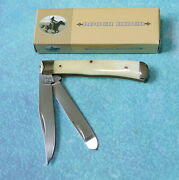 Rough Rider Large 4 Trapper 2-blade Knife New Smooth White Bone Handle In Box