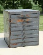 Antique Apothecary Cabinet 8 Wood Drawer Organizer Box Typeset Industrial Gray
