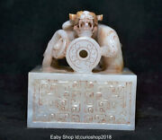 3.2 Old Natural Hetian Jade Nephrite Dynasty Dragon Imperial Seal Stamp Signet