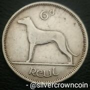 Ireland, Eire 6 Pence 1948. Km13a. Sixpence Coin. Wolfhound. Dog. Animals. 6p.