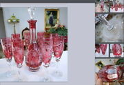 Antique Mint 1910 Baccarat Cranberry Cut To Crystal Wine Decanter And Wine Glasses