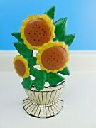 Vintage Cast Iron Floral Sunflowers In Pitcher Door Stop Flowers 9-1/2 Tall