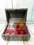 Vintage Glass Liquor Decanters And Shot Glasses Wood Chest Bar Set Amber And Clear