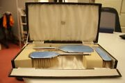 Deco 1930and039s Hallmarked Silver And Blue Guilloche Dressing Table Set Boxed