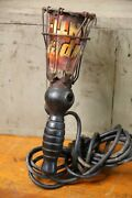 Vintage Trouble Drop Work Light With Old Tin Sign Safety Cage Garage Industrial