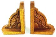Art Nouveau Oak Wooden Carved Bookends Water Lily/oak Leaves Hand Carved