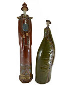 Vintage Pair Of Chinese Extra Long Glazed Ceramic Statues Figurines Very Rare