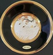 3 Black And White Circular Chokin Floral, Swans 24k Gold Trim Collection Plates
