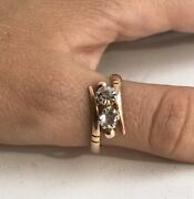 Vintage Rose Gold 583 14k With Stone Rhinestone Womenand039s Jewelry Chic Ring 3.3 Gr