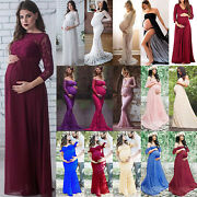 Womens Pregnant Long Maxi Dress Maternity Ball Gown Party Photography Plus Size