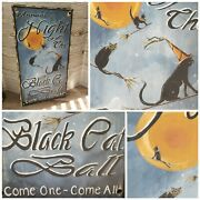 Primitive Halloween Hanging Sign Black Cat Ball Wooden Sign With Black Cats