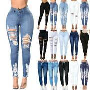 Women High Waisted Stretchy Denim Jeans Ripped Trousers Pants Leggings Plus Size
