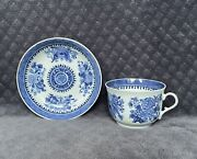 Rare 18th Century Chinese Export Fitzhugh Blue White Teacup And Saucer Set