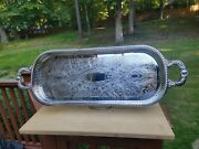 New Old Stock Vintage Regency Brand Silver Plate Serving Tray 26 X 9 W/ Handles